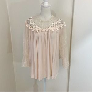 POL Pink Floral Sheer Lace Sleeve Blouse Sz S